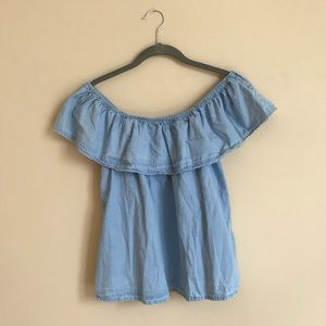 Off The Shoulder Blue Ruffle Top Size L